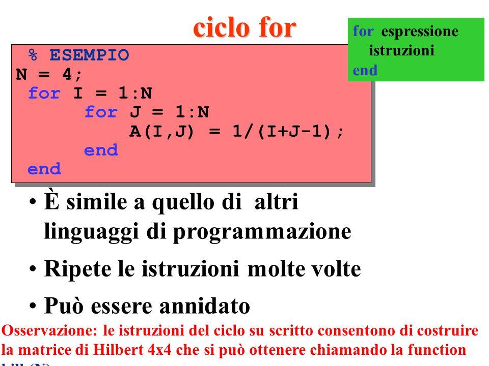 ciclo for È simile a quello di altri linguaggi di programmazione Ripete le istruzioni molte volte Può essere annidato % ESEMPIO N = 4; for I = 1:N for J = 1:N A(I,J) = 1/(I+J-1); end % ESEMPIO N = 4; for I = 1:N for J = 1:N A(I,J) = 1/(I+J-1); end Osservazione: le istruzioni del ciclo su scritto consentono di costruire la matrice di Hilbert 4x4 che si può ottenere chiamando la function hilb(N) for espressione istruzioni end