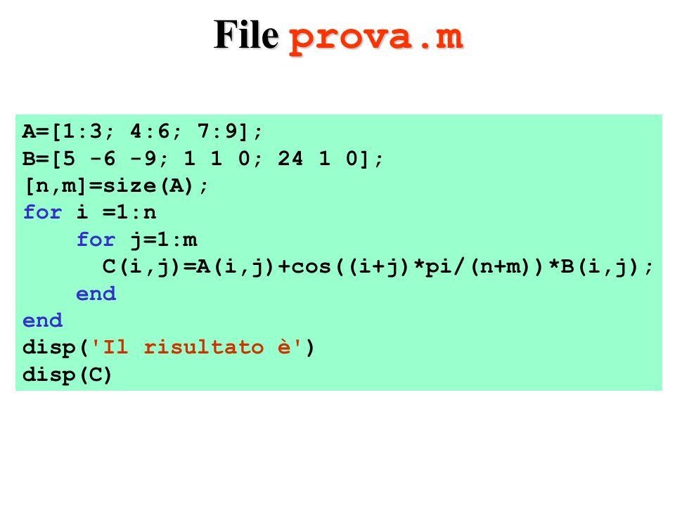 Risultati file prova.m >>prova Il risultato è 3.5000 2.0000 7.5000 4.0000 4.5000 6.0000 -5.0000 7.1340 9.0000 >> >>prova Il risultato è 3.5000 2.0000 7.5000 4.0000 4.5000 6.0000 -5.0000 7.1340 9.0000 >>