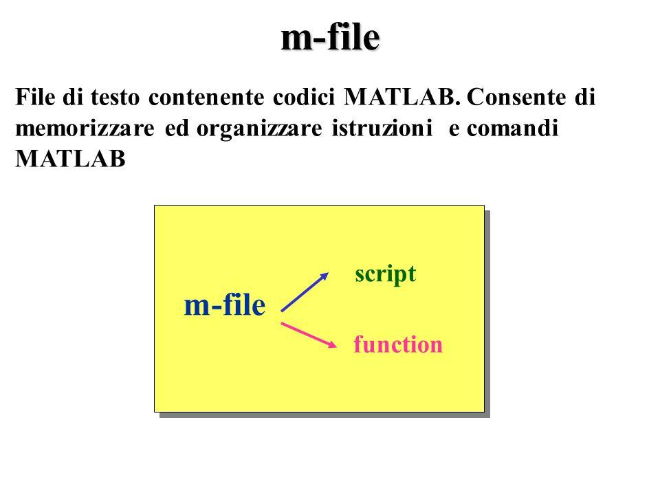 m-file File di testo contenente codici MATLAB.