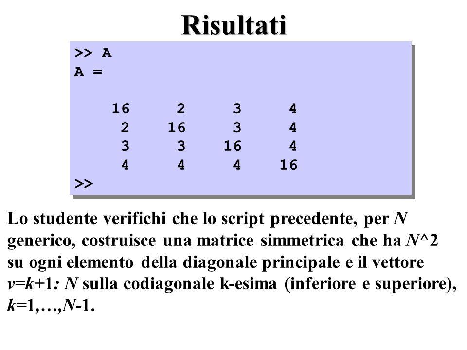 Risultati >> A A = 16 2 3 4 2 16 3 4 3 3 16 4 4 4 4 16 >> >> A A = 16 2 3 4 2 16 3 4 3 3 16 4 4 4 4 16 >> Lo studente verifichi che lo script precedente, per N generico, costruisce una matrice simmetrica che ha N^2 su ogni elemento della diagonale principale e il vettore v=k+1: N sulla codiagonale k-esima (inferiore e superiore), k=1,…,N-1.