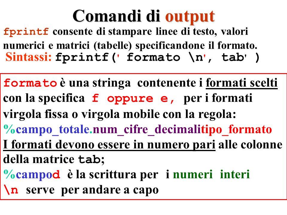 Comandi di output fprintf consente di stampare linee di testo, valori numerici e matrici (tabelle) specificandone il formato.