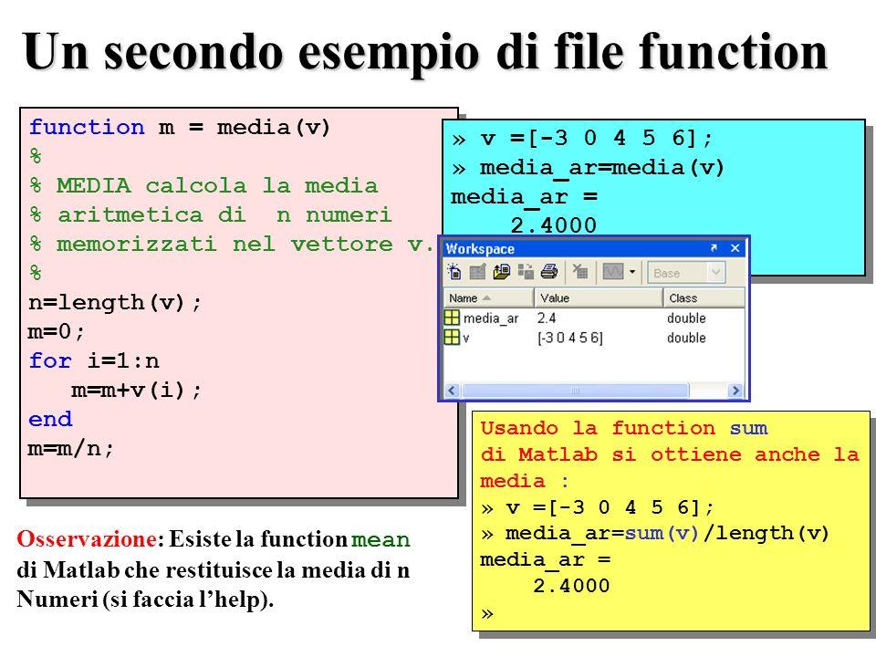 Un secondo esempio di file function function m = media(v) % % MEDIA calcola la media % aritmetica di n numeri % memorizzati nel vettore v.