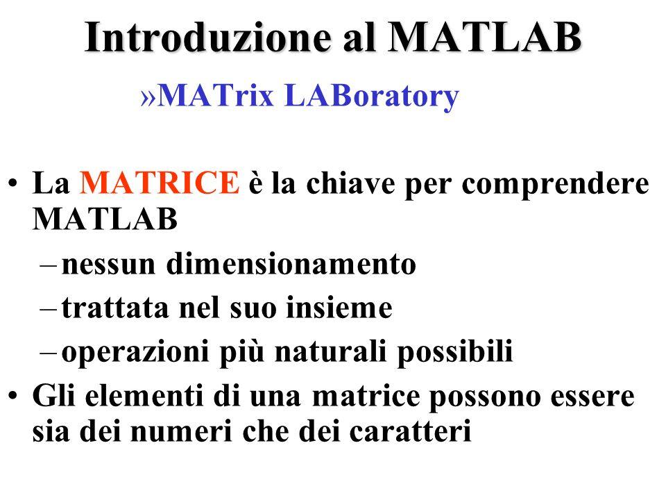 Introduzione al MATLAB »MATrix LABoratory La MATRICE è la chiave per comprendere MATLAB –nessun dimensionamento –trattata nel suo insieme –operazioni più naturali possibili Gli elementi di una matrice possono essere sia dei numeri che dei caratteri