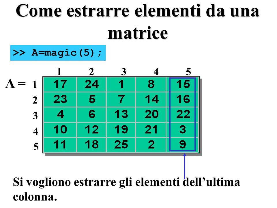 Come estrarre elementi da una matrice A = 1 2 3 4 5 1234512345 Si vogliono estrarre gli elementi dellultima colonna.