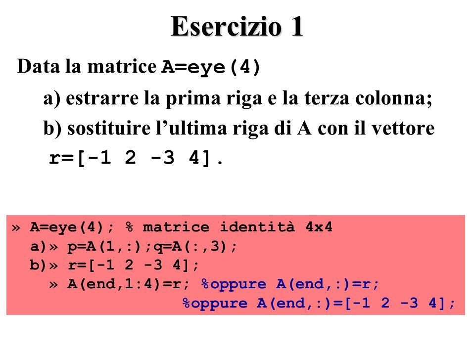 Esercizio 1 Data la matrice A=eye(4) a) estrarre la prima riga e la terza colonna; b) sostituire lultima riga di A con il vettore r=[-1 2 -3 4].