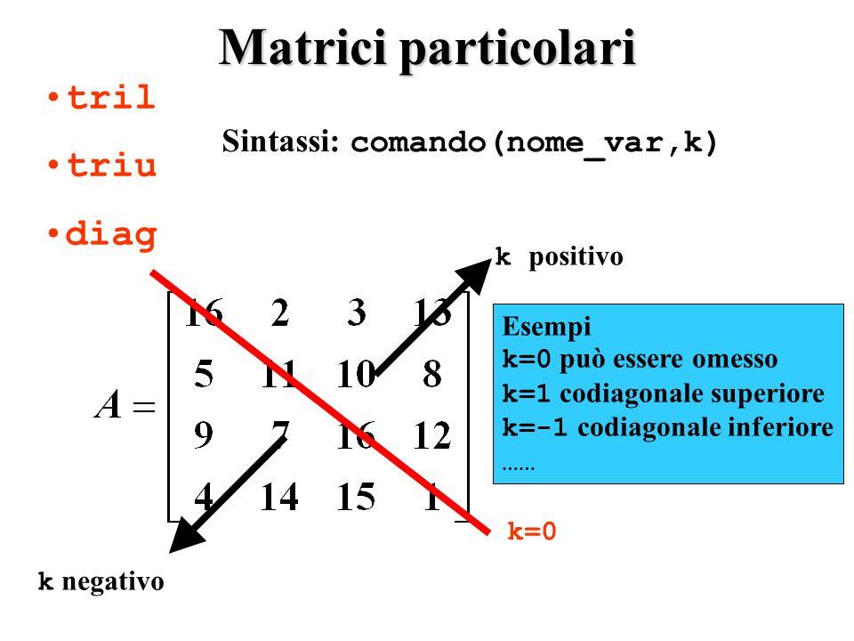 Matrici particolari tril triu diag Sintassi: comando(nome_var,k) k=0 k positivo k negativo Esempi k=0 può essere omesso k=1 codiagonale superiore k=-1 codiagonale inferiore ……