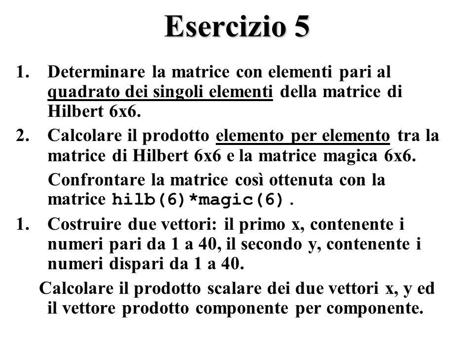 Esercizio 5 1.Determinare la matrice con elementi pari al quadrato dei singoli elementi della matrice di Hilbert 6x6.
