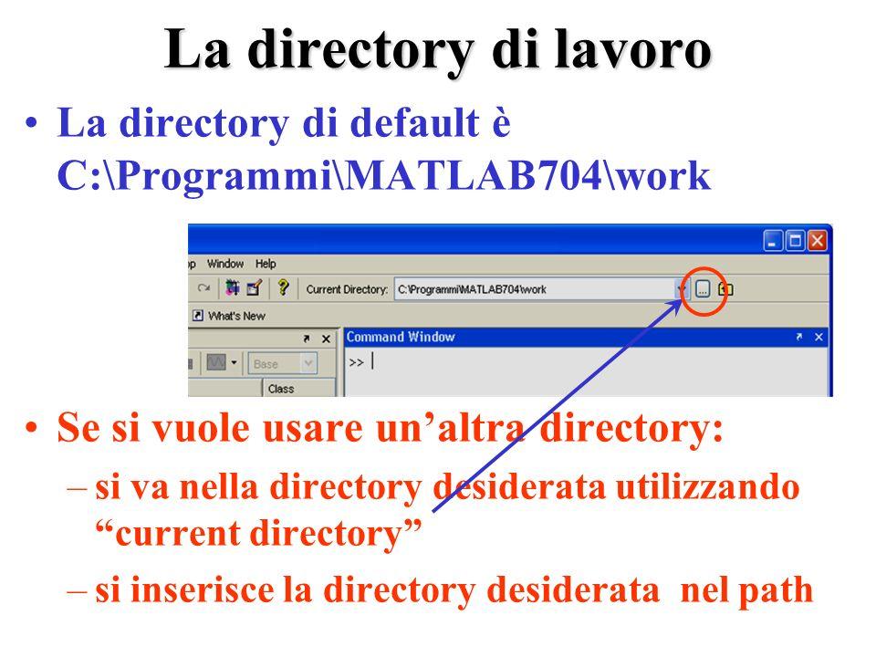 La directory di lavoro La directory di default è C:\Programmi\MATLAB704\work Se si vuole usare unaltra directory: –si va nella directory desiderata utilizzando current directory –si inserisce la directory desiderata nel path