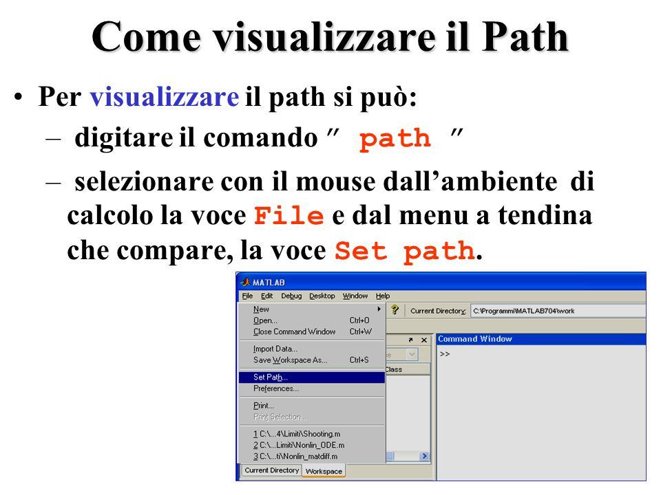 Come visualizzare il Path Per visualizzare il path si può: – digitare il comando path – selezionare con il mouse dallambiente di calcolo la voce File e dal menu a tendina che compare, la voce Set path.