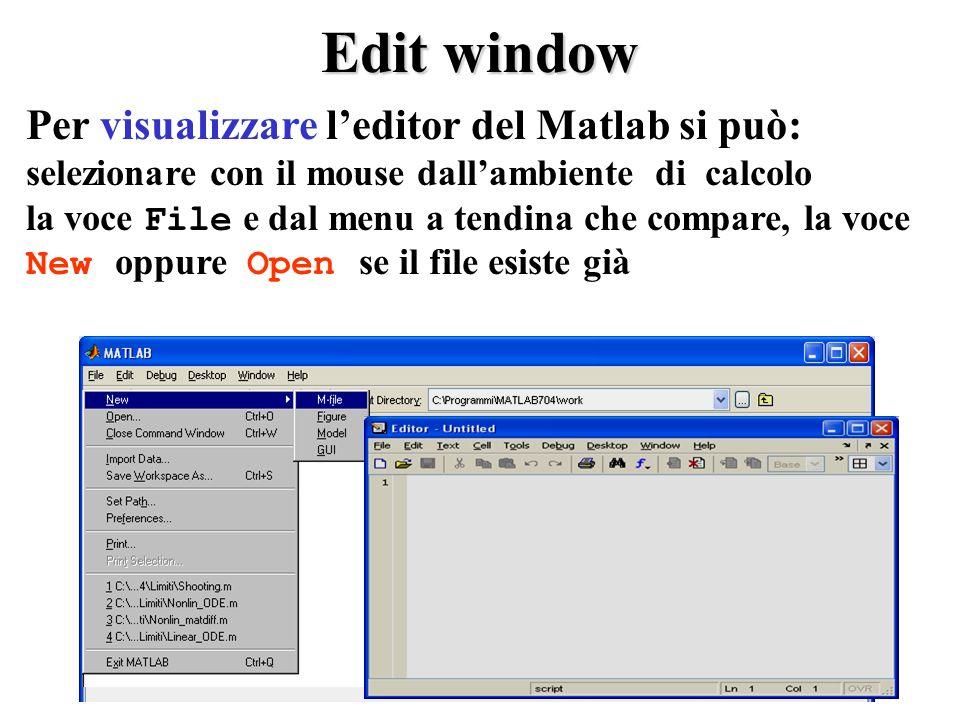 Edit window Per visualizzare leditor del Matlab si può: selezionare con il mouse dallambiente di calcolo la voce File e dal menu a tendina che compare, la voce New oppure Open se il file esiste già