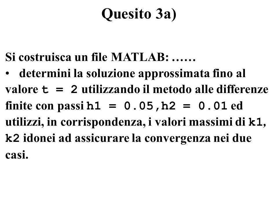Quesito 3a) Si costruisca un file MATLAB: …… determini la soluzione approssimata fino al valore t = 2 utilizzando il metodo alle differenze finite con passi h1 = 0.05,h2 = 0.01 ed utilizzi, in corrispondenza, i valori massimi di k1, k2 idonei ad assicurare la convergenza nei due casi.