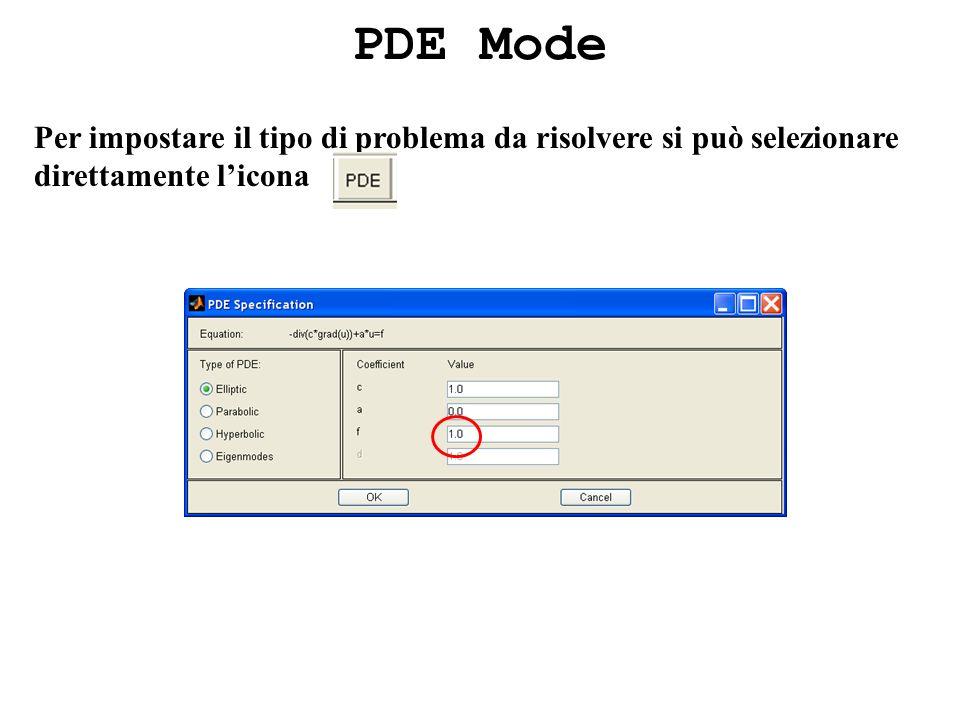 PDE Mode Per impostare il tipo di problema da risolvere si può selezionare direttamente licona
