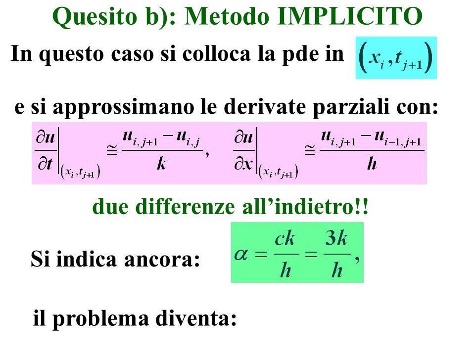 Quesito b): Metodo IMPLICITO In questo caso si colloca la pde in il problema diventa: Si indica ancora: e si approssimano le derivate parziali con: du