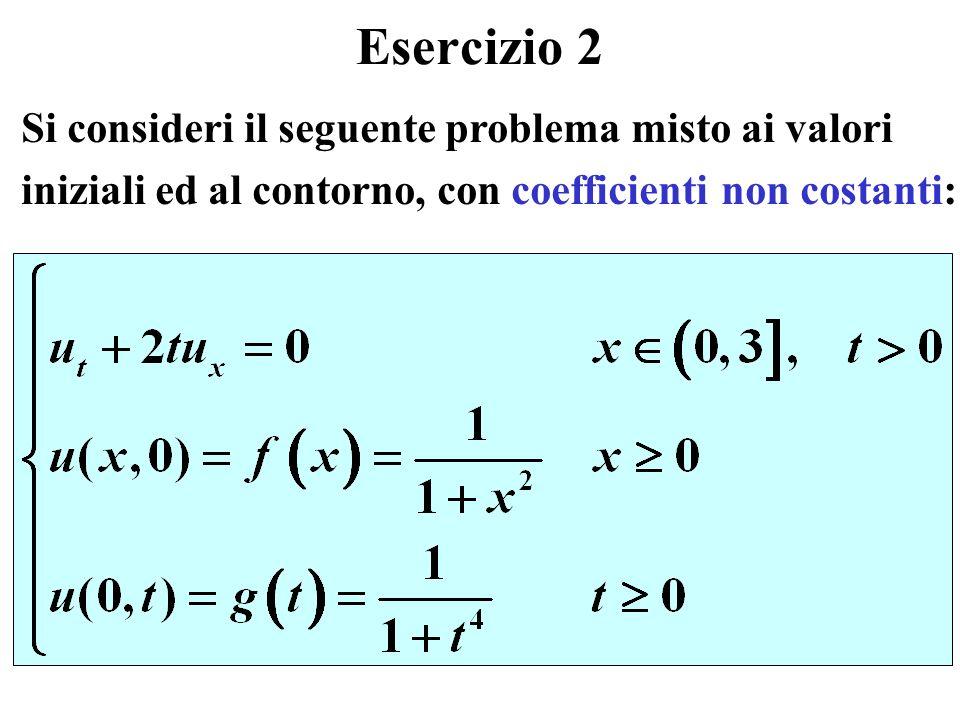 Esercizio 2 Si consideri il seguente problema misto ai valori iniziali ed al contorno, con coefficienti non costanti:
