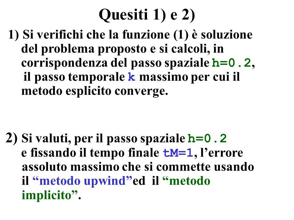 Quesiti 1) e 2) 2) Si valuti, per il passo spaziale h=0.2 e fissando il tempo finale tM=1, lerrore assoluto massimo che si commette usando il metodo u