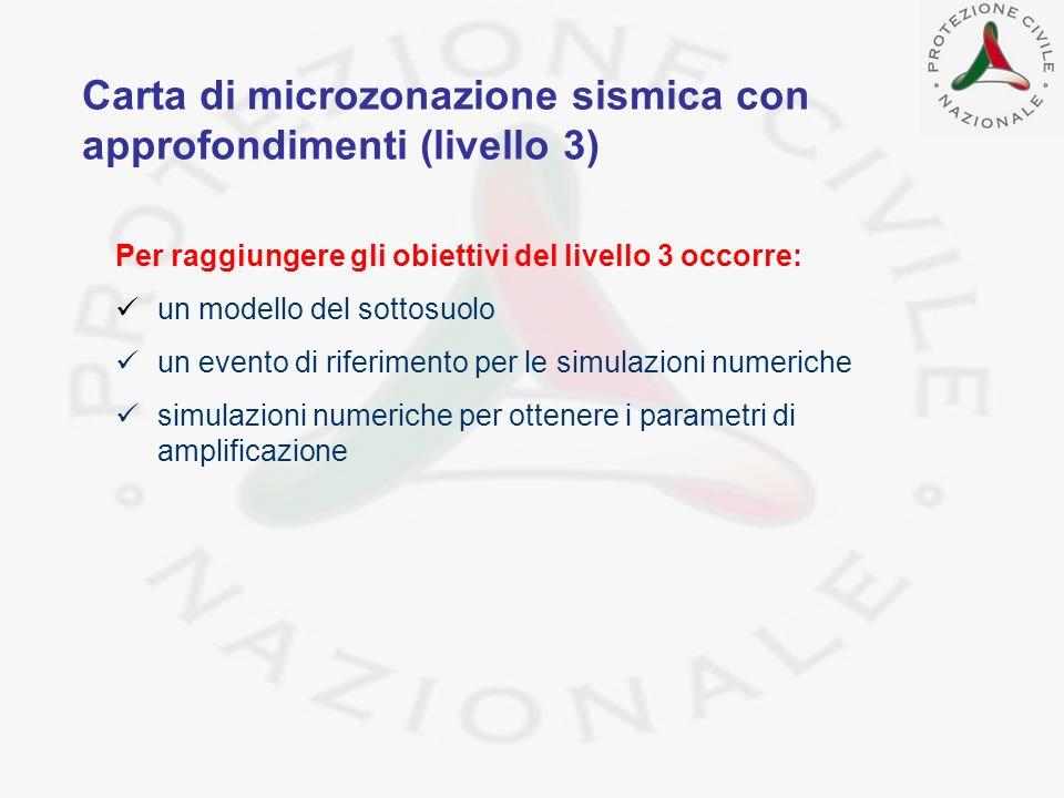 Per raggiungere gli obiettivi del livello 3 occorre: un modello del sottosuolo un evento di riferimento per le simulazioni numeriche simulazioni numer