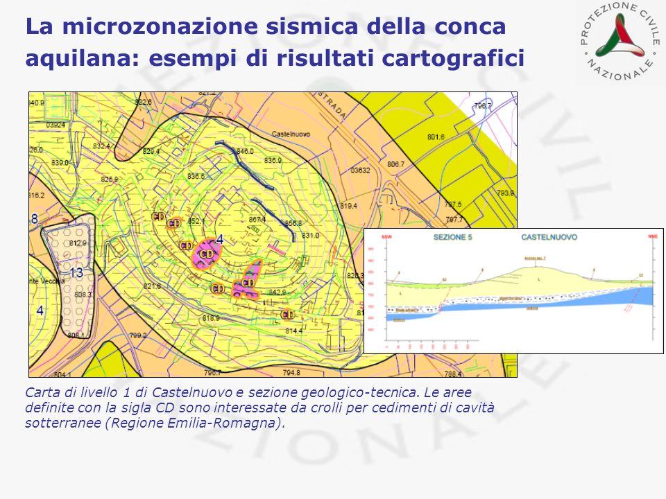 La microzonazione sismica della conca aquilana: esempi di risultati cartografici Carta di livello 1 di Castelnuovo e sezione geologico-tecnica. Le are