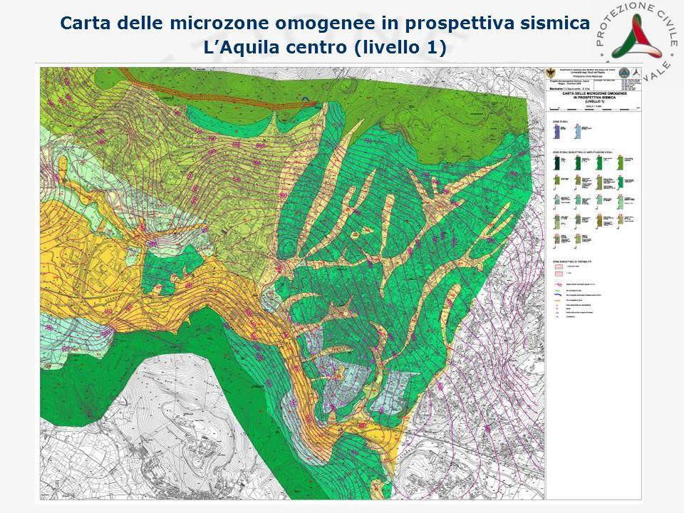 Carta delle microzone omogenee in prospettiva sismica LAquila centro (livello 1)