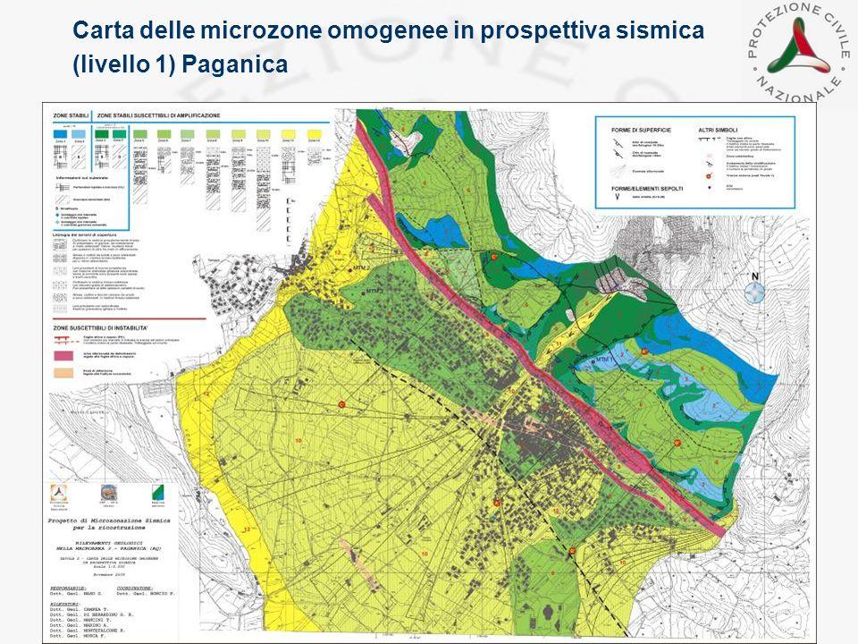 Carta delle microzone omogenee in prospettiva sismica (livello 1) Paganica