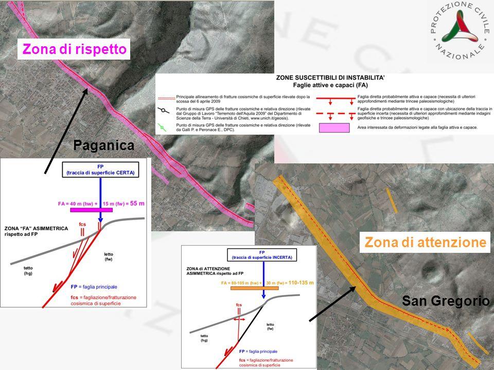 Paganica San Gregorio Zona di rispetto Zona di attenzione