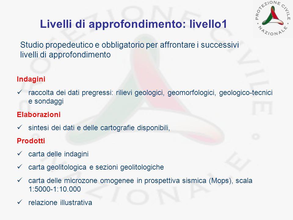 Livelli di approfondimento: livello1 Studio propedeutico e obbligatorio per affrontare i successivi livelli di approfondimento Indagini raccolta dei d