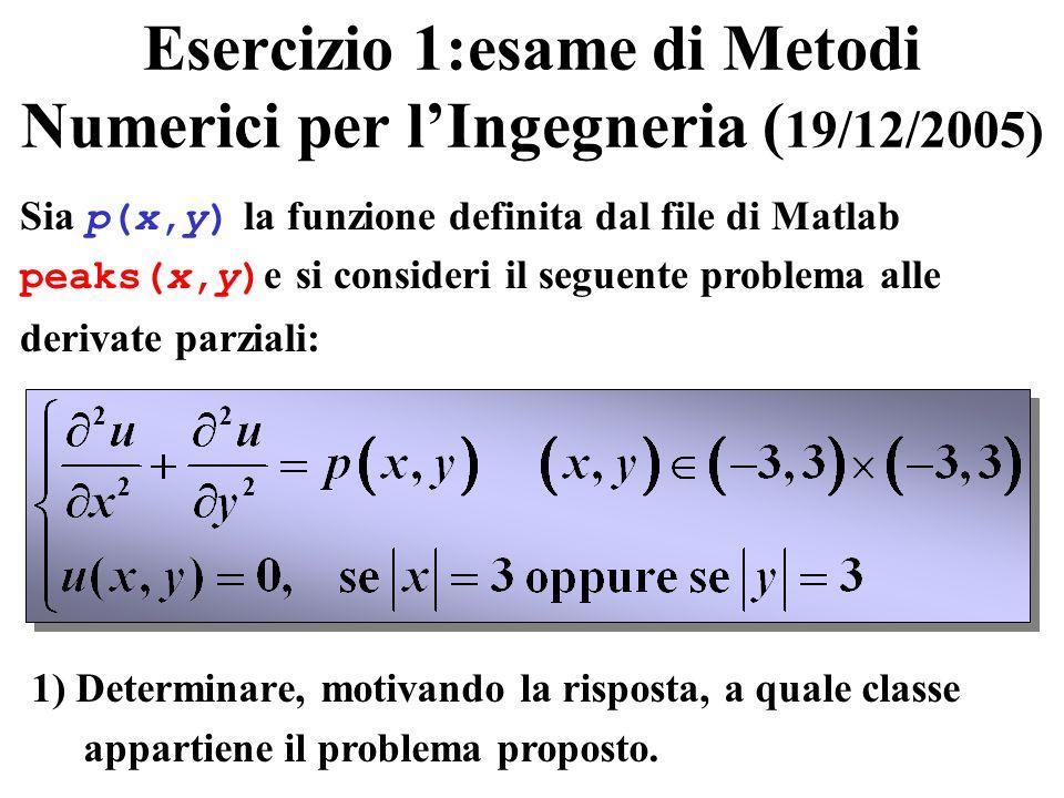 Esercizio 1:esame di Metodi Numerici per lIngegneria ( 19/12/2005) Sia p(x,y) la funzione definita dal file di Matlab peaks(x,y) e si consideri il seg