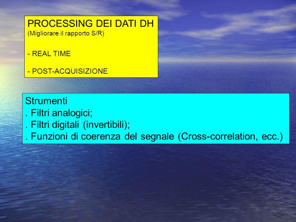 PROCESSING DEI DATI DH (Migliorare il rapporto S/R) - REAL TIME - POST-ACQUISIZIONE Strumenti. Filtri analogici;. Filtri digitali (invertibili);. Funz
