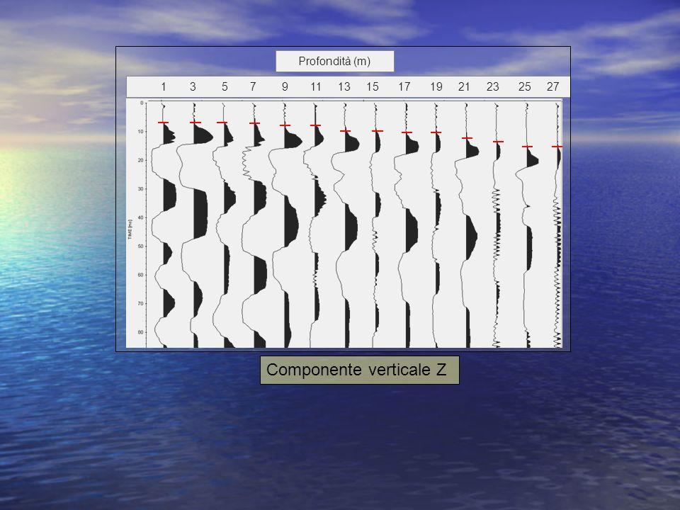 Componente verticale Z 1 3 5 7 9 11 13 15 17 19 21 23 25 27 Profondità (m)