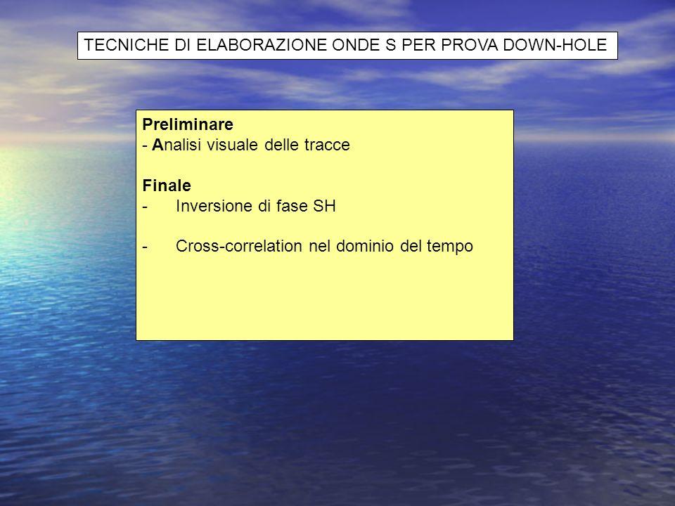 Preliminare - Analisi visuale delle tracce Finale - Inversione di fase SH - Cross-correlation nel dominio del tempo TECNICHE DI ELABORAZIONE ONDE S PE