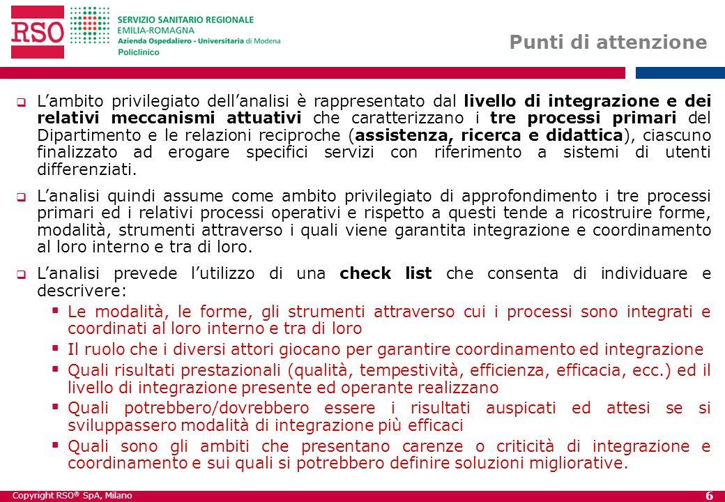 Copyright RSO ® SpA, Milano 6 Punti di attenzione Lambito privilegiato dellanalisi è rappresentato dal livello di integrazione e dei relativi meccanis
