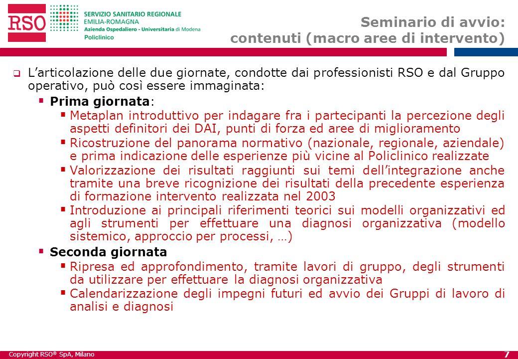 Copyright RSO ® SpA, Milano 7 Seminario di avvio: contenuti (macro aree di intervento) Larticolazione delle due giornate, condotte dai professionisti
