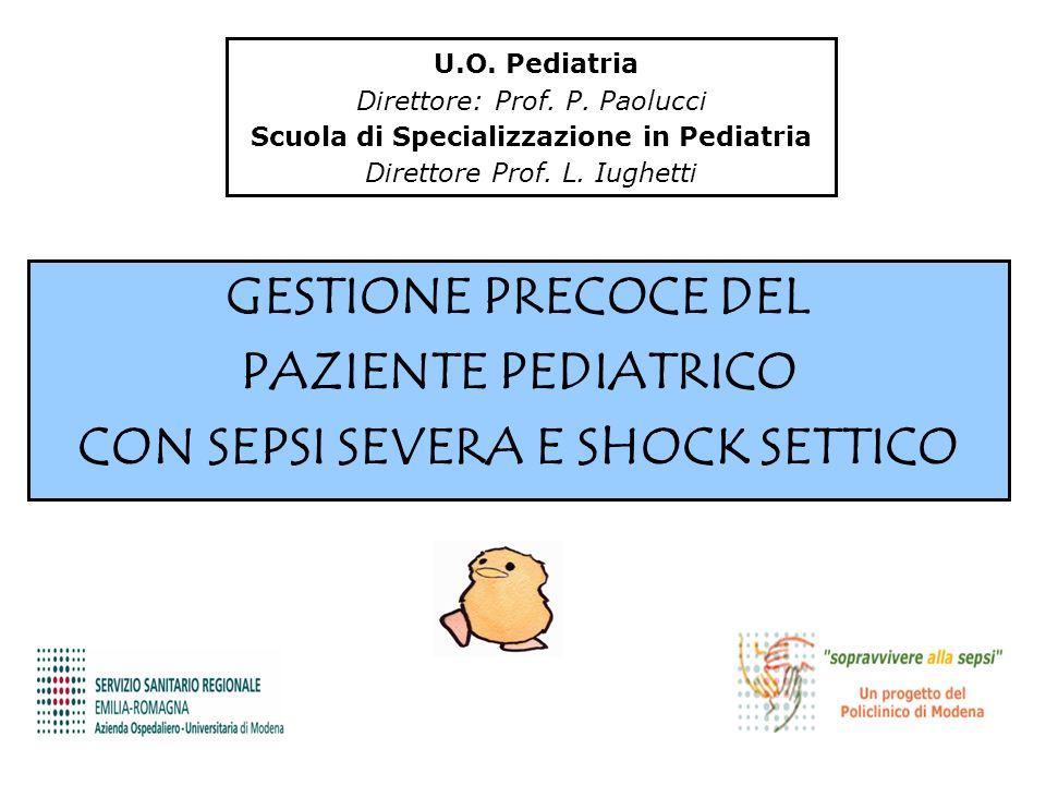 U.O. Pediatria Direttore: Prof. P. Paolucci Scuola di Specializzazione in Pediatria Direttore Prof. L. Iughetti GESTIONE PRECOCE DEL PAZIENTE PEDIATRI