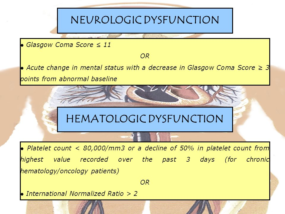 Glasgow Coma Score 11 OR Acute change in mental status with a decrease in Glasgow Coma Score 3 points from abnormal baseline NEUROLOGIC DYSFUNCTION Platelet count < 80,000/mm3 or a decline of 50% in platelet count from highest value recorded over the past 3 days (for chronic hematology/oncology patients) OR International Normalized Ratio > 2 HEMATOLOGIC DYSFUNCTION