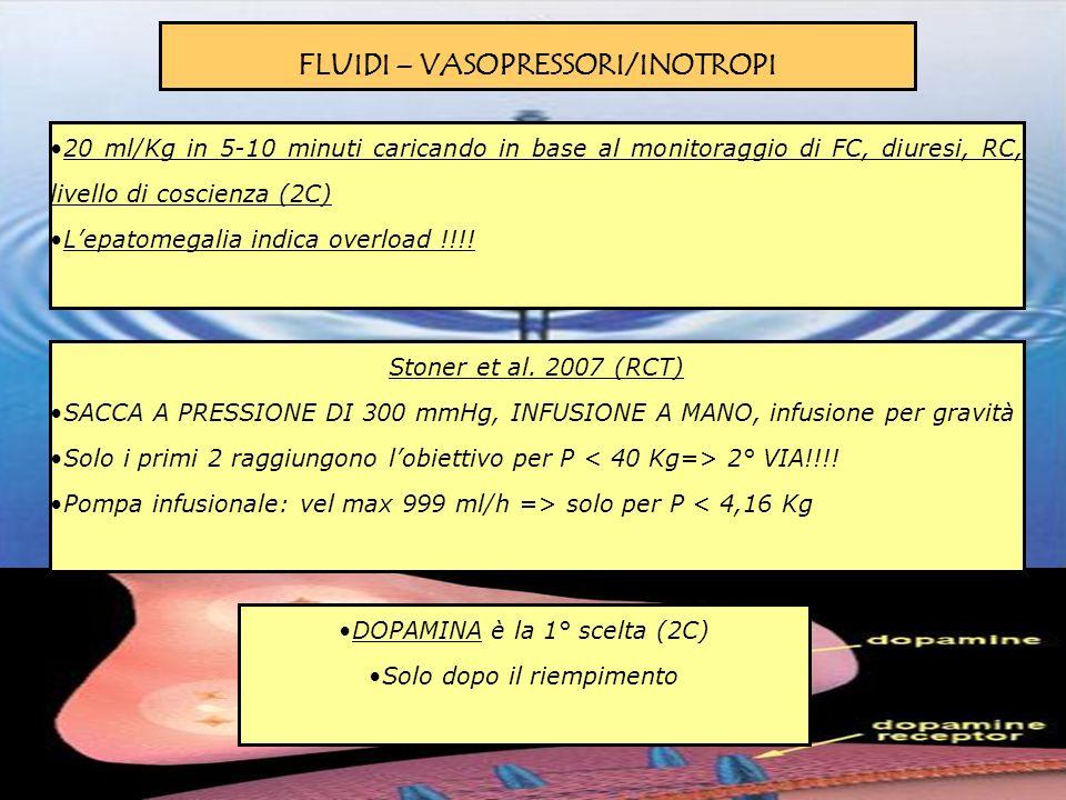 FLUIDI – VASOPRESSORI/INOTROPI 20 ml/Kg in 5-10 minuti caricando in base al monitoraggio di FC, diuresi, RC, livello di coscienza (2C) Lepatomegalia i
