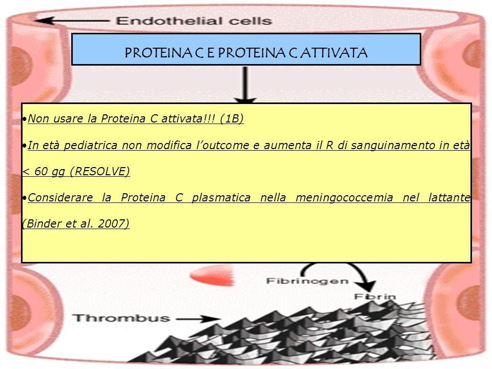 PROTEINA C E PROTEINA C ATTIVATA Non usare la Proteina C attivata!!! (1B) In età pediatrica non modifica loutcome e aumenta il R di sanguinamento in e
