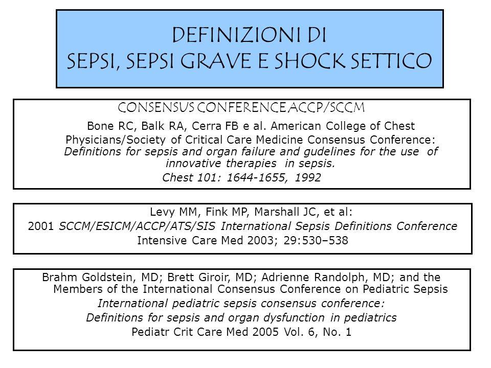 DEFINIZIONI DI SEPSI, SEPSI GRAVE E SHOCK SETTICO CONSENSUS CONFERENCE ACCP/SCCM Bone RC, Balk RA, Cerra FB e al. American College of Chest Physicians