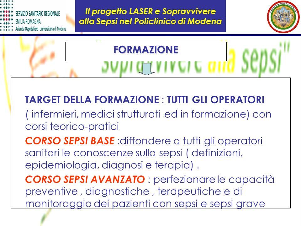 Il progetto LASER e Sopravvivere alla Sepsi nel Policlinico di ModenaFORMAZIONE TARGET DELLA FORMAZIONE : TUTTI GLI OPERATORI ( infermieri, medici str