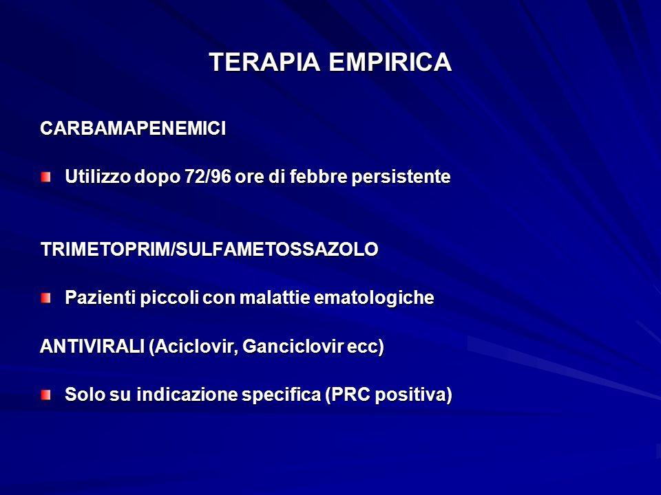 TERAPIA EMPIRICA CARBAMAPENEMICI Utilizzo dopo 72/96 ore di febbre persistente TRIMETOPRIM/SULFAMETOSSAZOLO Pazienti piccoli con malattie ematologiche