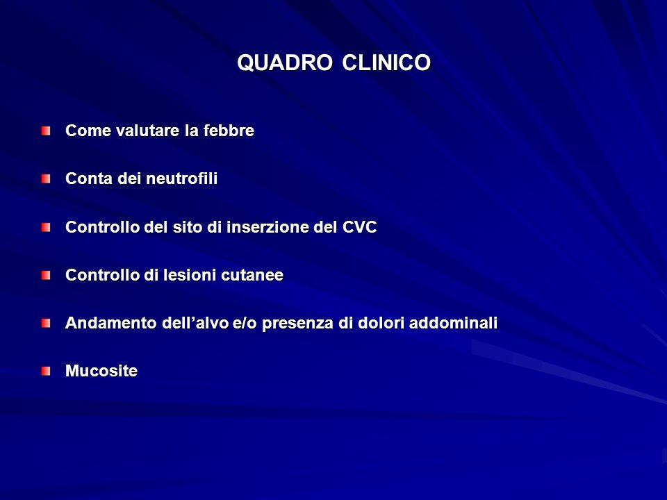 QUADRO CLINICO Come valutare la febbre Conta dei neutrofili Controllo del sito di inserzione del CVC Controllo di lesioni cutanee Andamento dellalvo e
