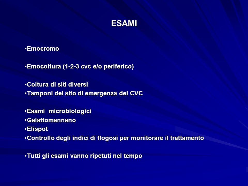 ESAMI EmocromoEmocromo Emocoltura (1-2-3 cvc e/o periferico)Emocoltura (1-2-3 cvc e/o periferico) Coltura di siti diversiColtura di siti diversi Tampo