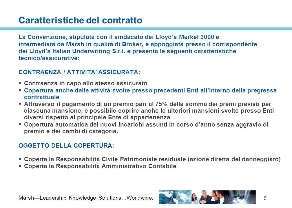 MarshLeadership, Knowledge, Solutions…Worldwide. 5 Caratteristiche del contratto La Convenzione, stipulata con il sindacato dei Lloyds Markel 3000 e i