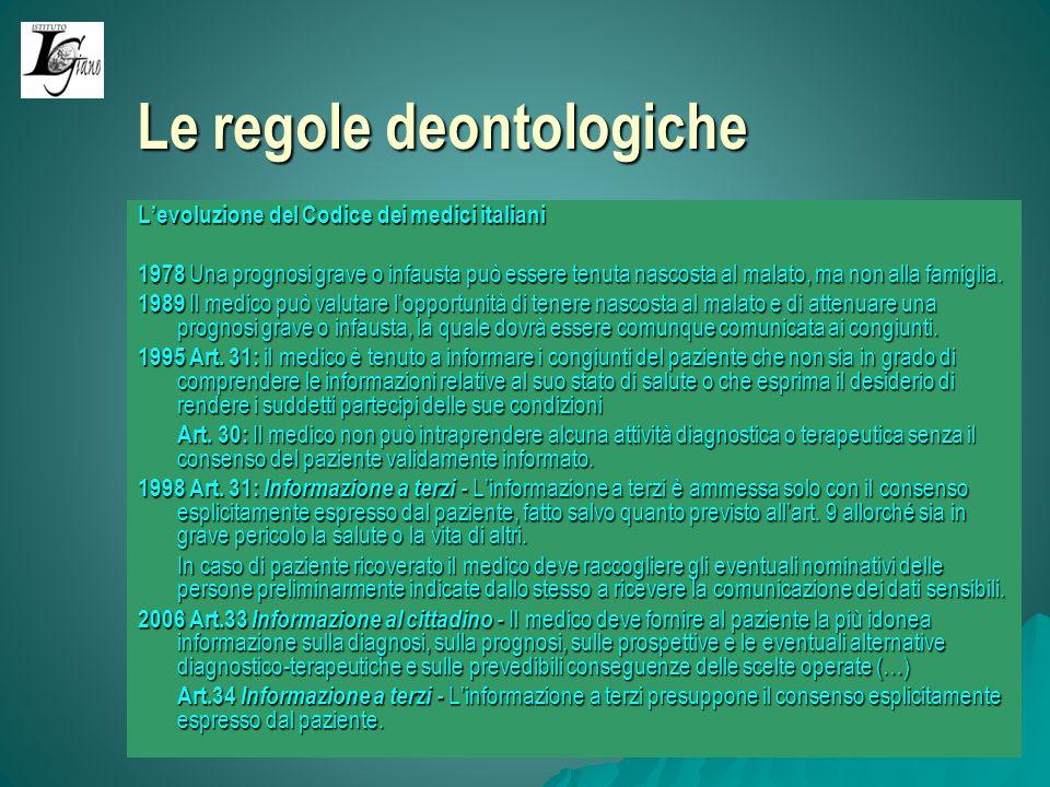 Le regole deontologiche Levoluzione del Codice dei medici italiani 1978 Una prognosi grave o infausta può essere tenuta nascosta al malato, ma non alla famiglia.