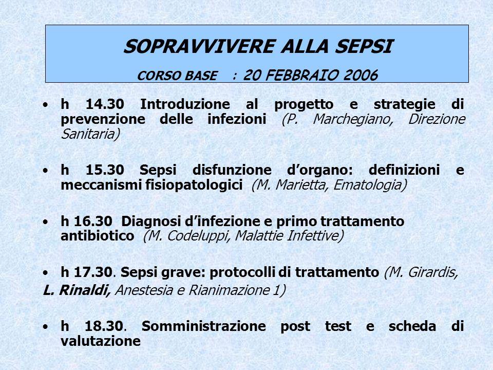 SOPRAVVIVERE ALLA SEPSI CORSO BASE : 20 FEBBRAIO 2006 h 14.30 Introduzione al progetto e strategie di prevenzione delle infezioni (P.