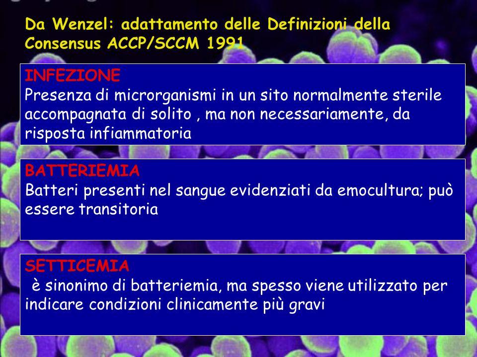INFEZIONE Presenza di microrganismi in un sito normalmente sterile accompagnata di solito, ma non necessariamente, da risposta infiammatoria BATTERIEMIA Batteri presenti nel sangue evidenziati da emocultura; può essere transitoria SETTICEMIA è sinonimo di batteriemia, ma spesso viene utilizzato per indicare condizioni clinicamente più gravi Da Wenzel: adattamento delle Definizioni della Consensus ACCP/SCCM 1991