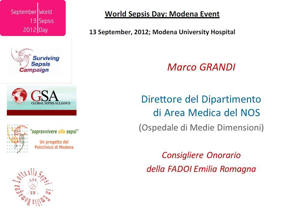 Marco GRANDI Direttore del Dipartimento di Area Medica del NOS (Ospedale di Medie Dimensioni) Consigliere Onorario della FADOI Emilia Romagna