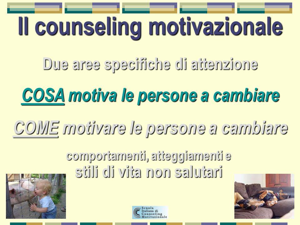 Due aree specifiche di attenzione COSA motiva le persone a cambiare COME motivare le persone a cambiare Il counseling motivazionale comportamenti, att