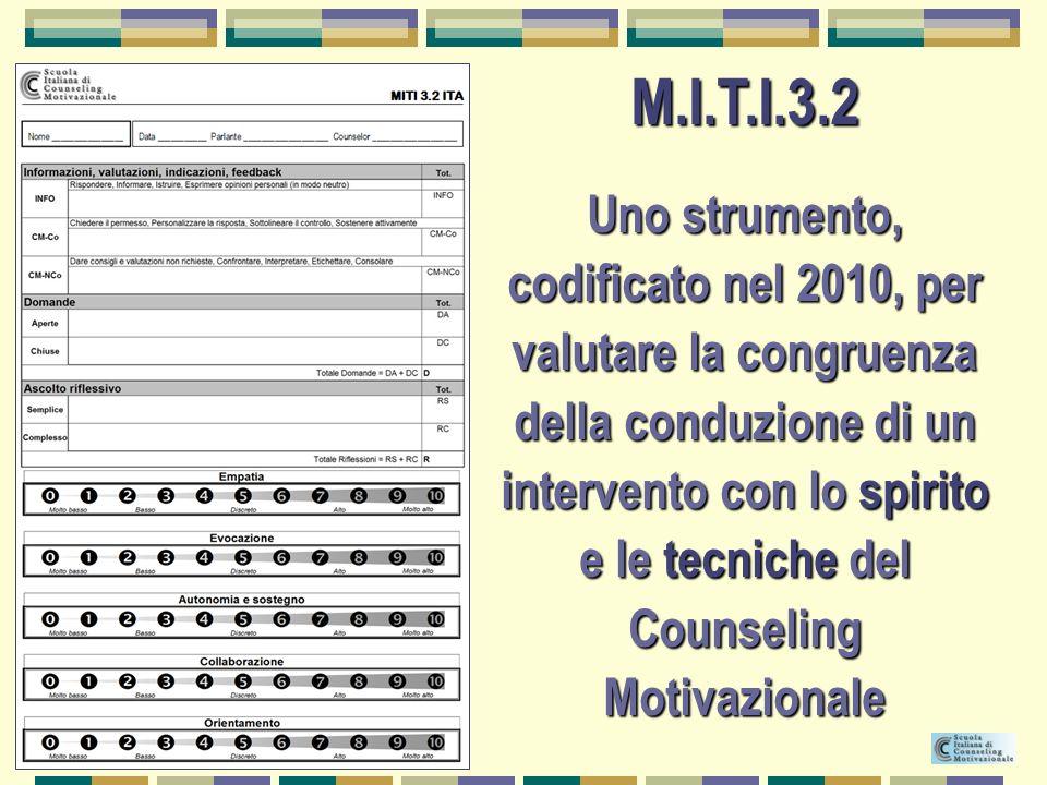M.I.T.I.3.2 Uno strumento, codificato nel 2010, per valutare la congruenza della conduzione di un intervento con lo spirito e le tecniche del Counseli