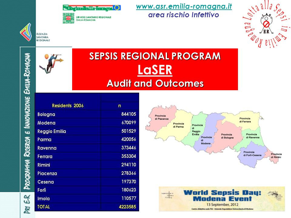 www.asr.emilia-romagna.it area rischio Infettivo SEPSIS REGIONAL PROGRAM LaSER Audit and Outcomes