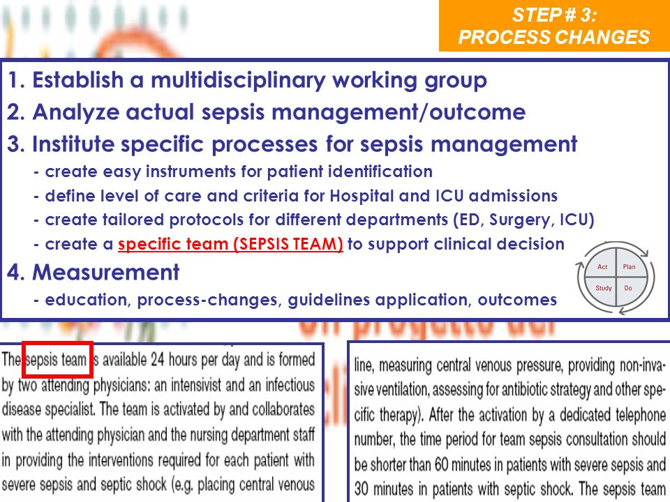 1. Establish a multidisciplinary working group 2. Analyze actual sepsis management/outcome 3. Institute specific processes for sepsis management - cre