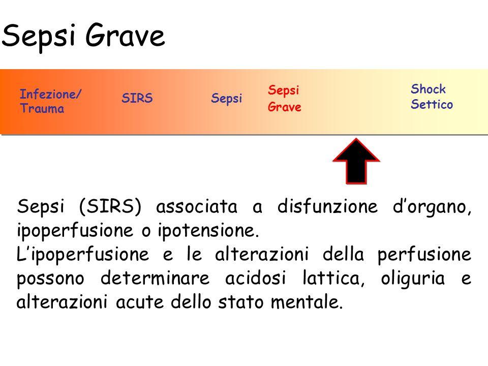 Sepsi Grave SepsiSIRS Infezione/ Trauma Sepsi Grave Shock Settico Sepsi (SIRS) associata a disfunzione dorgano, ipoperfusione o ipotensione. Lipoperfu